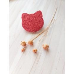 Broche Chat Pailleté rouge